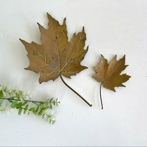 Vintage Brass Maple Leaves Wall Hangings Fall Decor Lot of 2